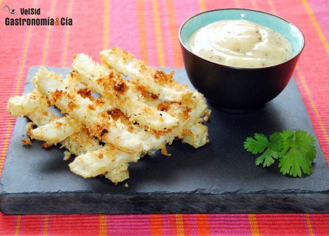 Raíz de apio al horno con mayonesa de mostaza y ajo