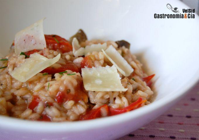 Risotto de berenjenas y tomate natural