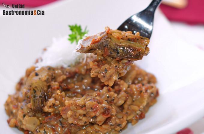 Risotto con alcachofas, ortigas y tomate seco