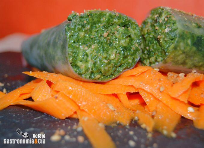 Rollitos de arroz rellenos de espinacas