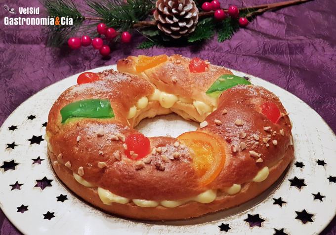 Receta de Roscón de Reyes fácil (sin masa madre) rellen