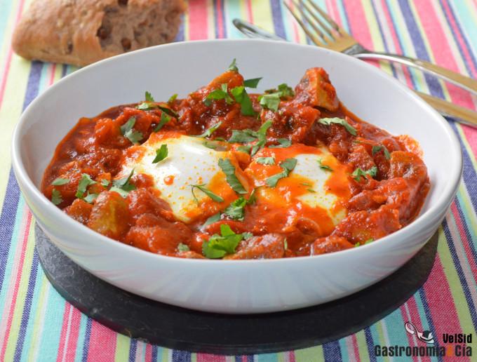Shakshuka con champiñones y tomatitos