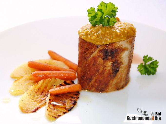 Solomillo con salsa de mostaza dulce
