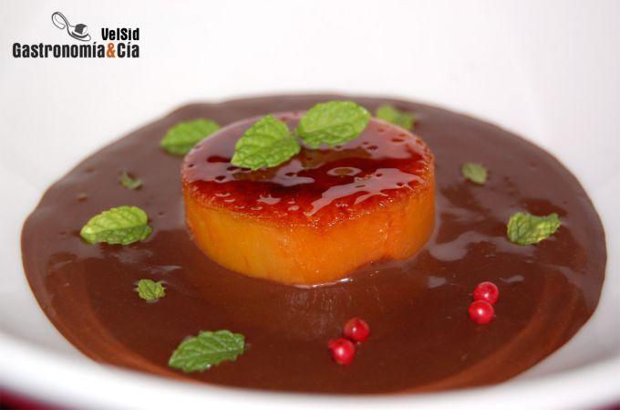 Sopa de chocolate a la canela con batata caramelizada