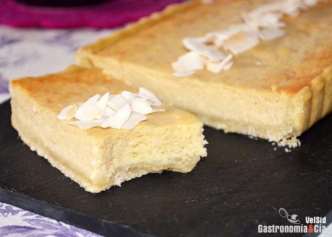 Tarta de coco y chirimoya