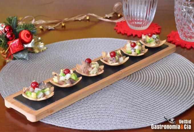 Tartar de sardina ahumada, pera y aguacate