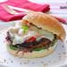 Hamburguesa vegetariana de Portobello con tomates confi