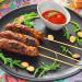 Kebab de ternera y queso con compota de tomate