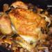 Pollo al horno con boletus y chirivía