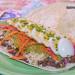Tacos de fríjoles negros, coliflor, aguacate y huevo