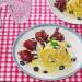 Tagliatelle con ricota salada, cecina y aceite de shiit