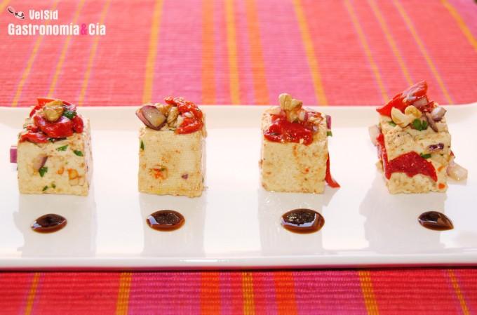 Tofu con pimientos del piquillo y nueces