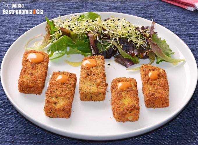 Tofu rebozado con mahonesa de sriracha