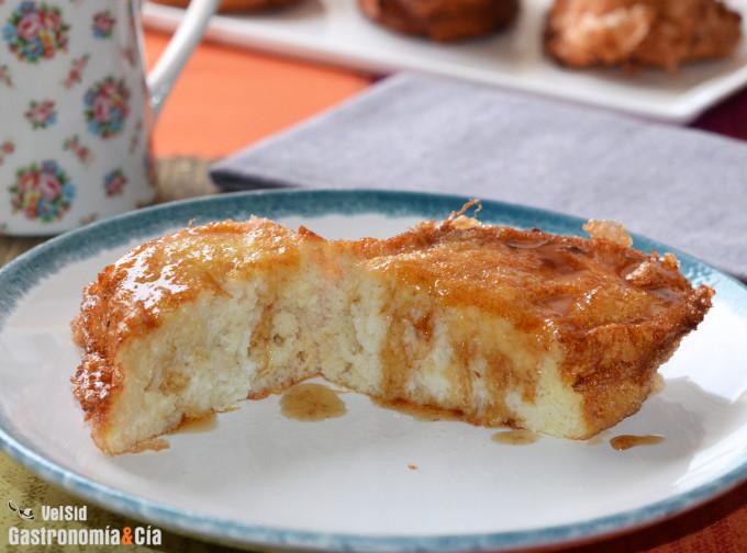 Torrijas de leche con almíbar de miel y Pedro Ximénez