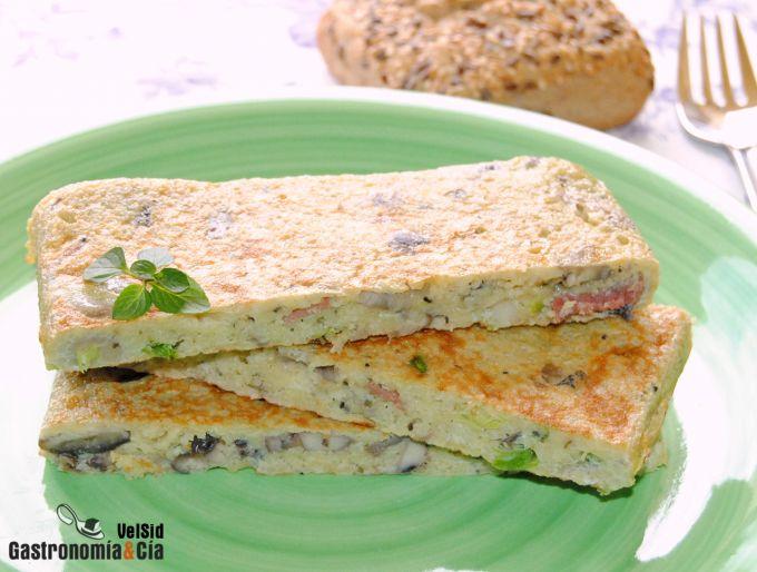 Receta de Tortilla de cuscús con setas y jamón