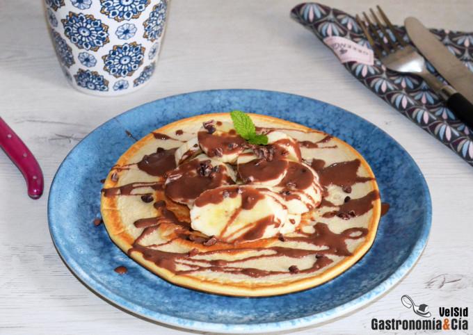 Tortita proteica de avena, plátano y chocolate