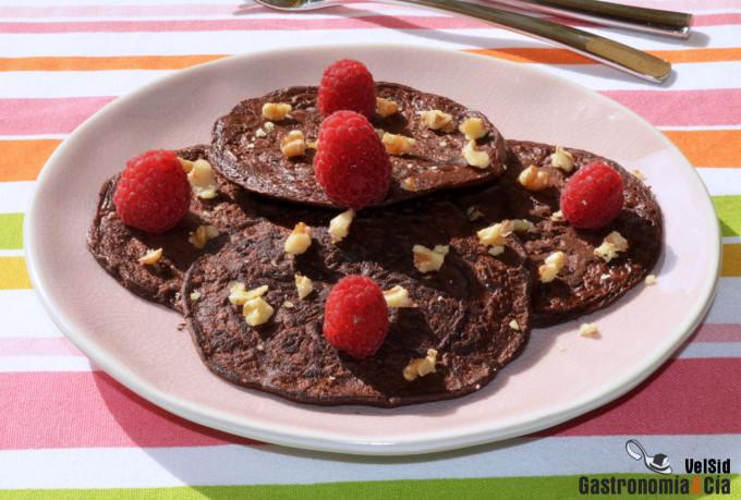 Tortitas de avena, plátano y chocolate