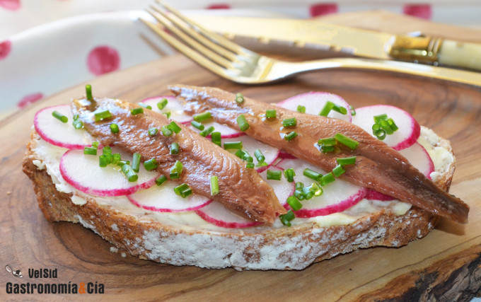 Tostadas con mantequilla, sardinas anchoadas y rabanito