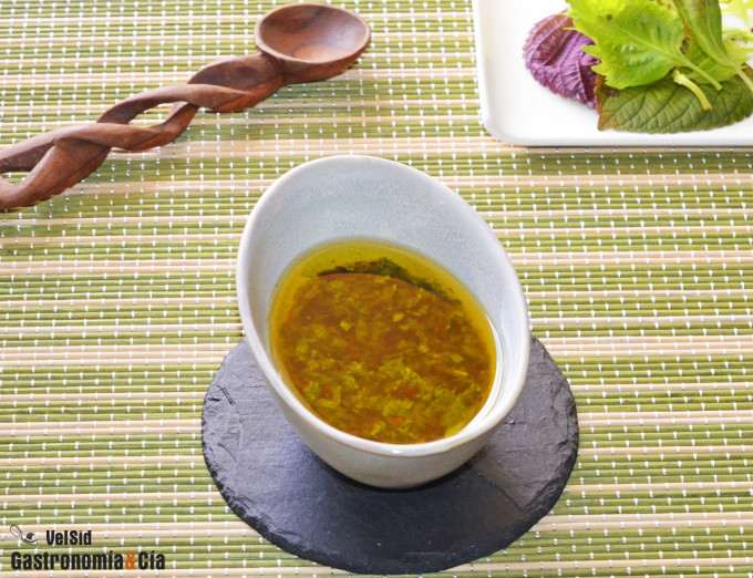 vinagreta de shiso, lima y soja