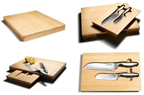Tabla de cortar con caj n y cuchillos - Tabla de cuchillos ...