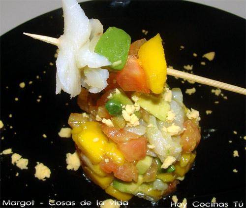 Tartar de bacalao y frutas
