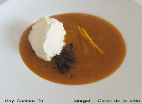 Crema de calabaza y naranja con yogur
