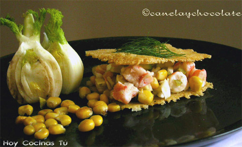 Sandwich de parma con vegetales y marisco