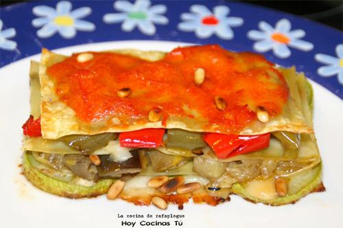 Lasaña de verduras y dos quesos