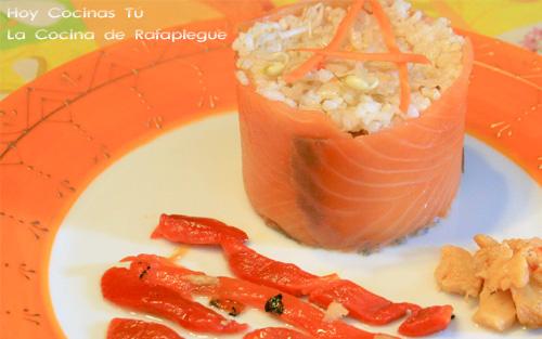 Esgarraet con arroz y salmón