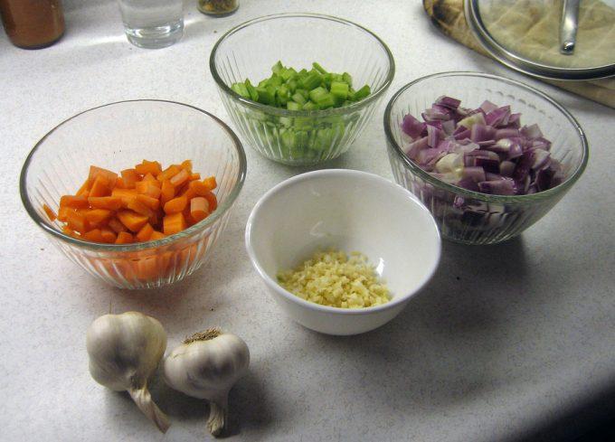 Preparación de los ingredientes para cocinar