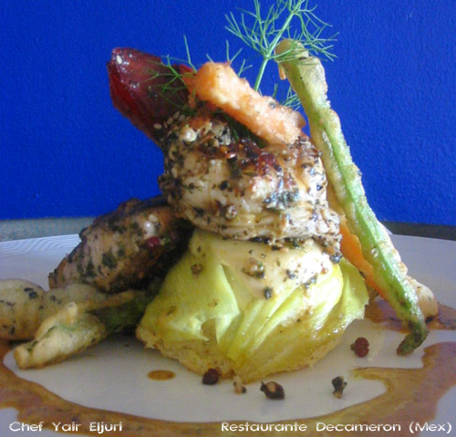 Langosta y dorada con tempura de vegetales