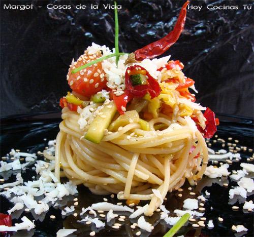 Hoy Cocinas Tú: Espaguetis con verduras al wok