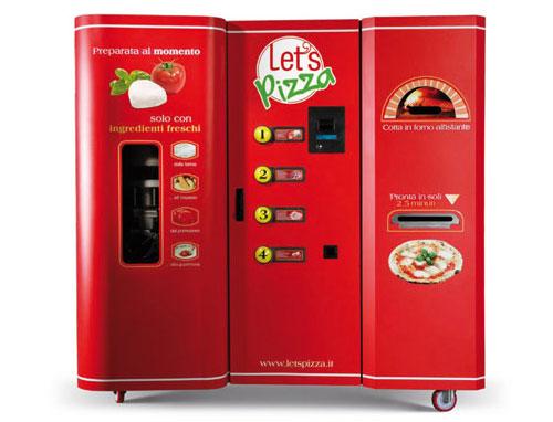 máquina expendedora de pizza recién horneada