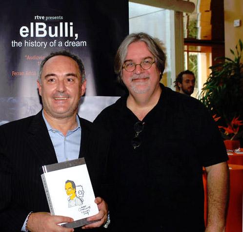 El creador de los Simpson, Matt Groening, acudió hoy a la presentación de Adrià en Cannes
