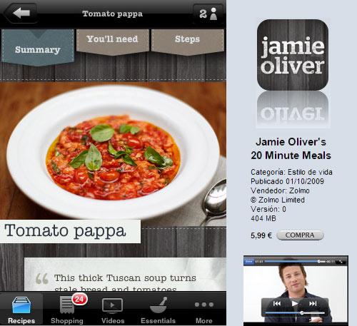 Jamie oliver en el iphone gastronom a c a for Cocina 5 ingredientes jamie oliver