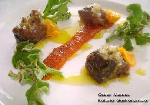 Melva del Mediterráneo con ficoide glacial, caviar cítrico y calamondín