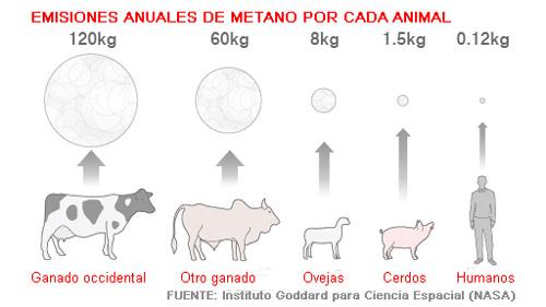 Emisiones contaminantes en animales