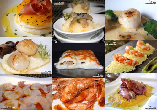 Pescados, mariscos, carnes