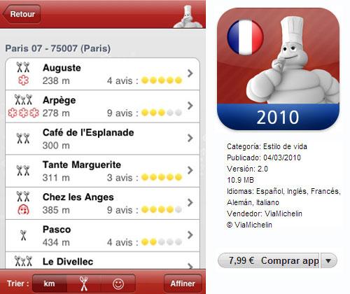 Guía Michelin para teléfonos móviles
