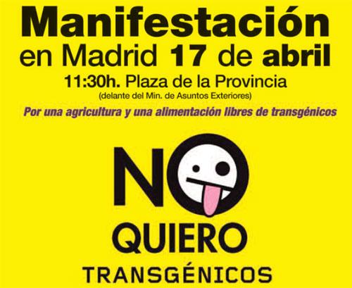 Manifestación contra los alimentos transgénicos en Madrid