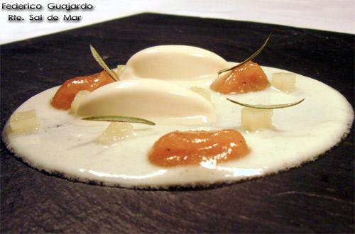 Membrillo a la naranja con yogur infusionado con romero y helado de queso manchego