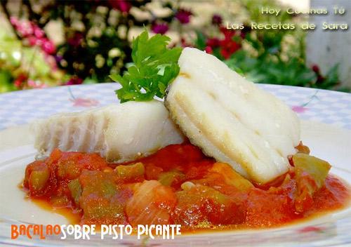 Hoy cocinas t bacalao confitado sobre pisto picante - Cocinar bacalao congelado ...