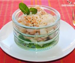 Cóctel de gambas y pera nashi