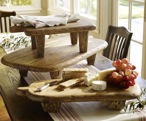 Tablas de madera r stica para servir alimentos for Utensilios para servir comida