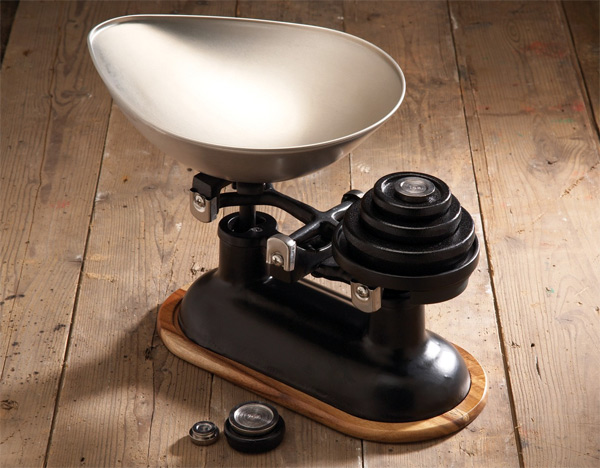Traditional Balance Scales in Black, Acacia Wood Stand
