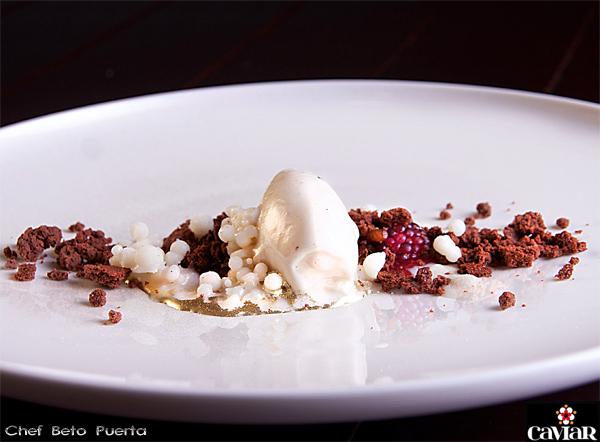 Helado de sarrapia, dulce de lechosa, compota de hibiscus, chocolate, café y moras