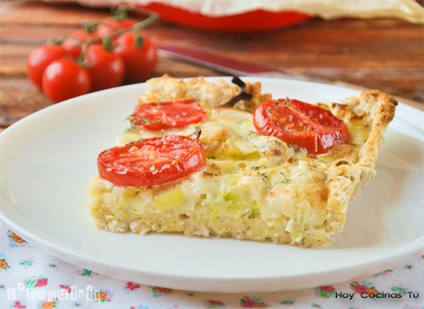 Tarta de tomates y puerros