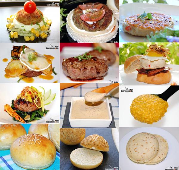 Hambruguesas, pan de hamburguesas, salsas