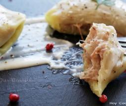 Ravioli de pato confitado con bechamel de trufa