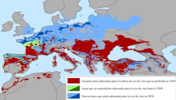 Previsión del cambio de la producción de vino